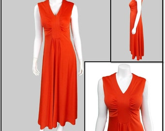 Long Orange Dress - 1960s Vintage - free shipping in the US