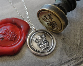 Thistle Wax Seal Necklace - Scottish heritage emblem and crown - Scotland heraldry wax seal jewelry br RQP Studio