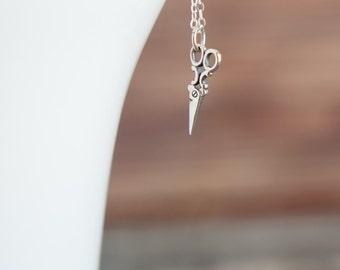 Vintage Scissors Necklace in Sterling Silver