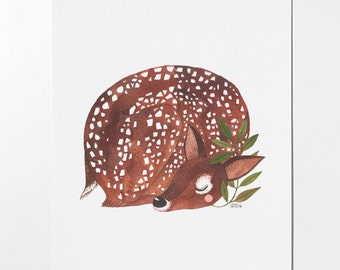 Sleepy Fawn - 8x10 art print