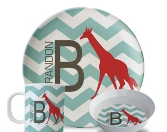 Personalized Chevron Plate Set, Chevron Melamine Plate Set, Personalized Giraffe Monogram Child's Plate, Bowl, Mug Set