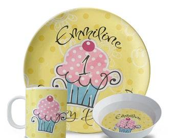 Personalized Melamine Cupcake Plate Set, Cupcake Birthday Plate Set, Personalized Childrens Melamine Dishes, Plate, Bowl, Mug Set