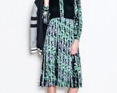 Japanese Vintage Dress S// 70s Dress// Vine Memory Dress// Winter Green Japan