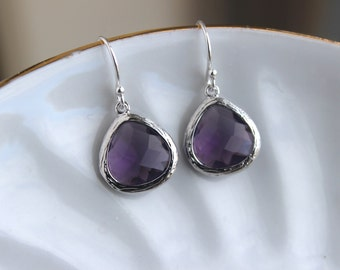 Silver Amethyst Earrings Purple Glass - Amethyst Purple Bridesmaid Earrings - Bridal Earrings - Wedding Jewelry - Bridesmaid Gift
