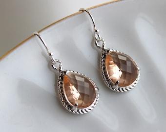 Silver Blush Champagne Earrings Peach Pink Jewelry Blush Teardrop Earrings - Peach Bridesmaid Earrings - Blush Wedding Jewelry Pink Bridal