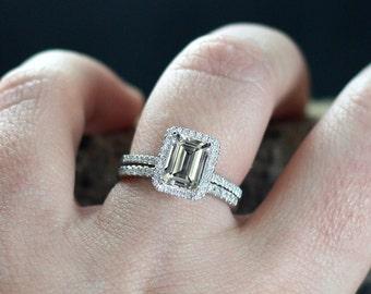Goshenite Engagement Ring & Diamond Halo Set Ione Medio 2ct 8x6mm Custom White,Yellow, Rose Gold-10k, 14k, 18k, Platinu