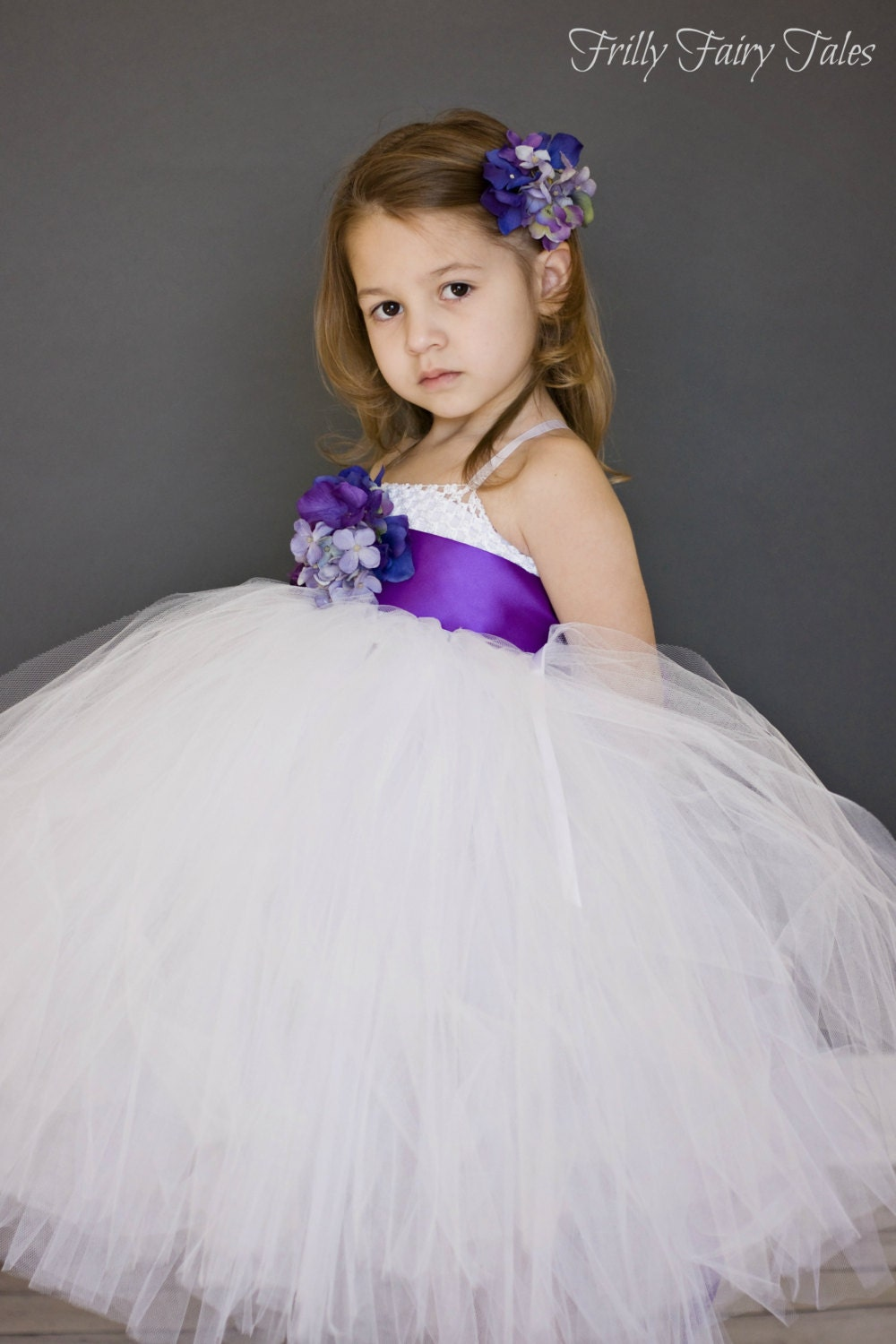 white and purple flower girl dress with sash by