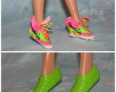 Vintage Barbie Shoe Set 2- Reeboks, Green Tennis Shoes - Pink High Tops - Sneakers, Runners, Running Shoes