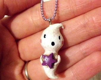 Little Ghost Necklace, Mini Ornament, Halloween Jewelry, Clay Necklace Charm, Ghost Necklace, Ghost Holding a Purple Star