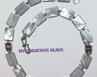 "Handmade Gray Mother of Pearl 19"" FACE Necklace  with Silver Accents  and Hook  Closure"