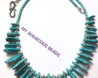 """Handmade 19"""" GENUINE Turquoise NECKLACE   SILVER Accent Beads Hook Closure"""
