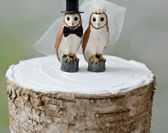 snow owl-barn owl-barn-wedding-cake topper-county wedding-owl lover-bride and groom-fall-winter-clay-ivory veil-rustic-Mr and Mrs-owl topper