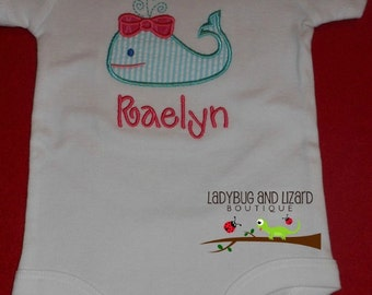 Girl's Whale Bodysuit with Monogram Sizes NB-18M