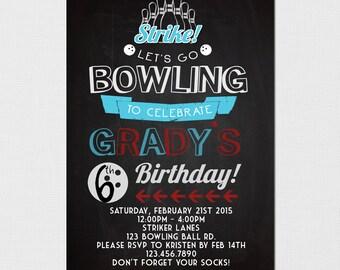Bowling Invitation - Bowling Birthday Invitation - Bowling Party - Bowl-a-rama - Invitation Bowling - Retro Bowling Invitation - Printable