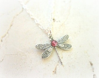 Birthstone Dragonfly Necklace. Birthstone Necklace. Children's Jewelry. Birthstone Jewelry.Birthday Gift. Flower Girl Gift.Dragonfly Jewelry