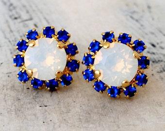 Opal earrings, White opal and blue sapphire stud earrings, Crystal earrings, Bridesmaid gift, Bridal earrings, Swarovski gold earrings
