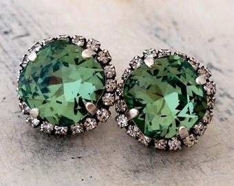 Green Swarovski crystal stud earrings, Kelly green stud earrings, Bridesmaids gift, Bridal earrings, Rhinestones stud earrings