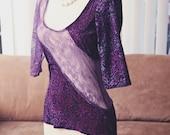 Purple Burned Velvet Floral Baroque Print Lingerie Loungewear Top // Size Medium