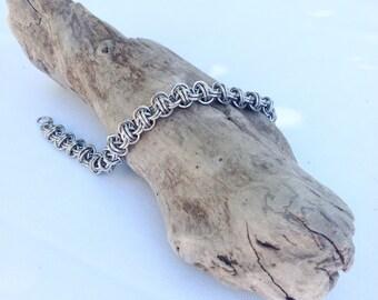 Everyday Bracelet, Heavy Duty Bracelet, Stainless Steel Bracelet, Twist of Fate Bracelet, Barrel Weave Chainmaille Bracelet, Unisex Bracelet