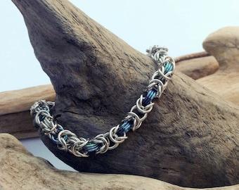 Stainless Steel and Teal Niobium Byzantine Bracelet - Ready to Ship