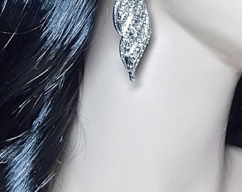 """Rhinestone Statement earrings ~ Long ~ 3"""" long ~ Sterling silver posts ~ SUPER SPARKLY ~ Bridal jewelry ~ Bridesmaids ~ Gift"""