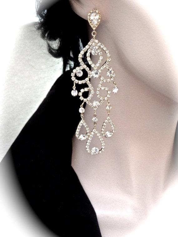 """Gold chandelier earrings - 4 1/2"""" Long - Crystal Rhinestone statement earrings - Brides earrings - Pageant - Prom - Wedding earrings"""