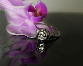 Antique Ring White Gold Natural Diamond