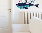Sail The Sea With Big Whale Billy Removable Wall Sticker | LSB0029WHT