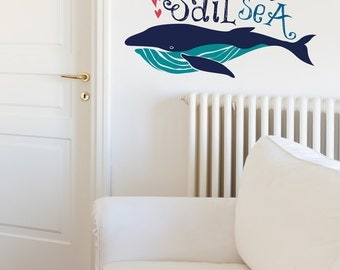 Sail The Sea With Big Whale Billy Removable Wall Sticker   LSB0029WHT