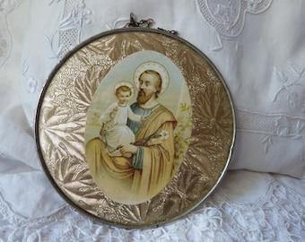 Antique French religious wall frame saint Joseph w child Jesus on gold foil, 1900s religious frame antiques art devotional church decor