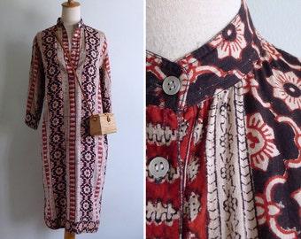 Vintage 80's Saraswathi Lotus Floral Nehru Indian Tunic Dress S M or L