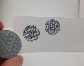 Flower of Life FOL with heart rubber stamp MED