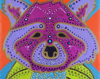 "Original Acrylic Painting of AMETHYST RACCOON - 8""x8"" Large Bold Bright Acrylic with Gold Detailing on Stretched Canvas"