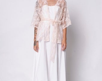 Bridal Lace Kimono. Bridal Wedding Cover Up. Available in Ivory, White, or Blush Pink. This Love Kimono. Custom Made to Order.