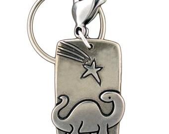 Dinosaur Key Chain - Dinosaur Key Ring - White Bronze Keychain with Brontosaurus and Falling Star