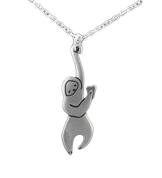Sloth Necklace - White Bronze Hanging Sloth Pendant