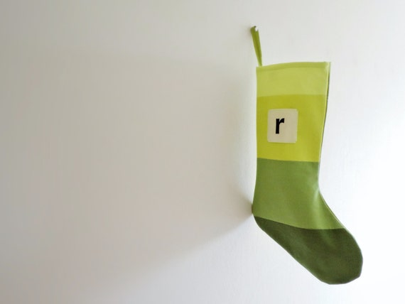 Personalized Christmas Stocking Personalized, Modern Striped Colorblock Personalized Stocking Monogram Color Block Girl Boy Wonderland Green
