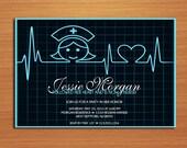 Reserved for Nicole / Nurse and Heart EKG Nursing / Medical Degree Graduation Party Invitation Cards PRINTABLE DIY