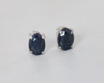 Vintage Beautiful Genuine African Dark Blue Sapphire Sterling Silver 925 Stud Earrings