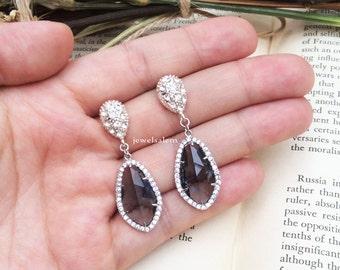 Bridal Earrings Sterling Silver Bridal Earrings Black Wedding Jewelry White Rhinestone Crystal Dangling Sparkling Drop Earrings C1 JW