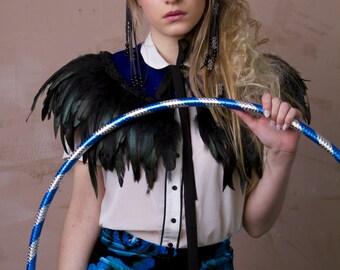 Blue velvet feather cape,  party shrug,  capulet