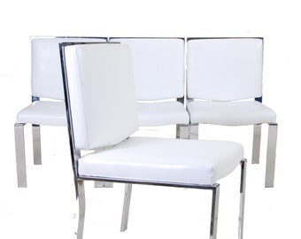 Milo Baughman Attributed Chrome and Vinyl Dining Chairs