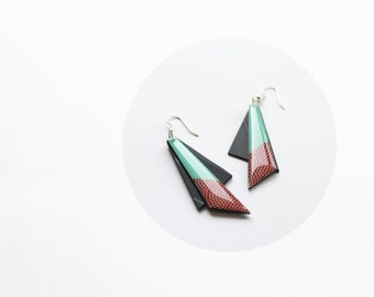 recycled earrings vinyl record jewelry mint and red earrings earth red and mint green earrings long triangle earrings unique jewellery