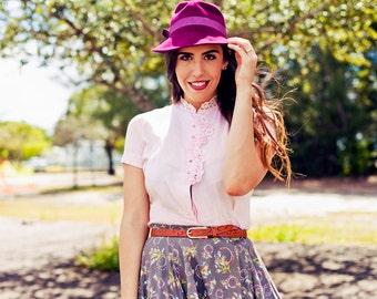Vintage 50s Pink Blouse Linen Lace Collar