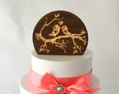 Love Birds Wedding Cake Topper, natural burned wood