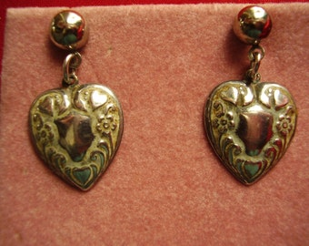 Vintage Sterling Silver Puffy Heart Charm Post Earrings