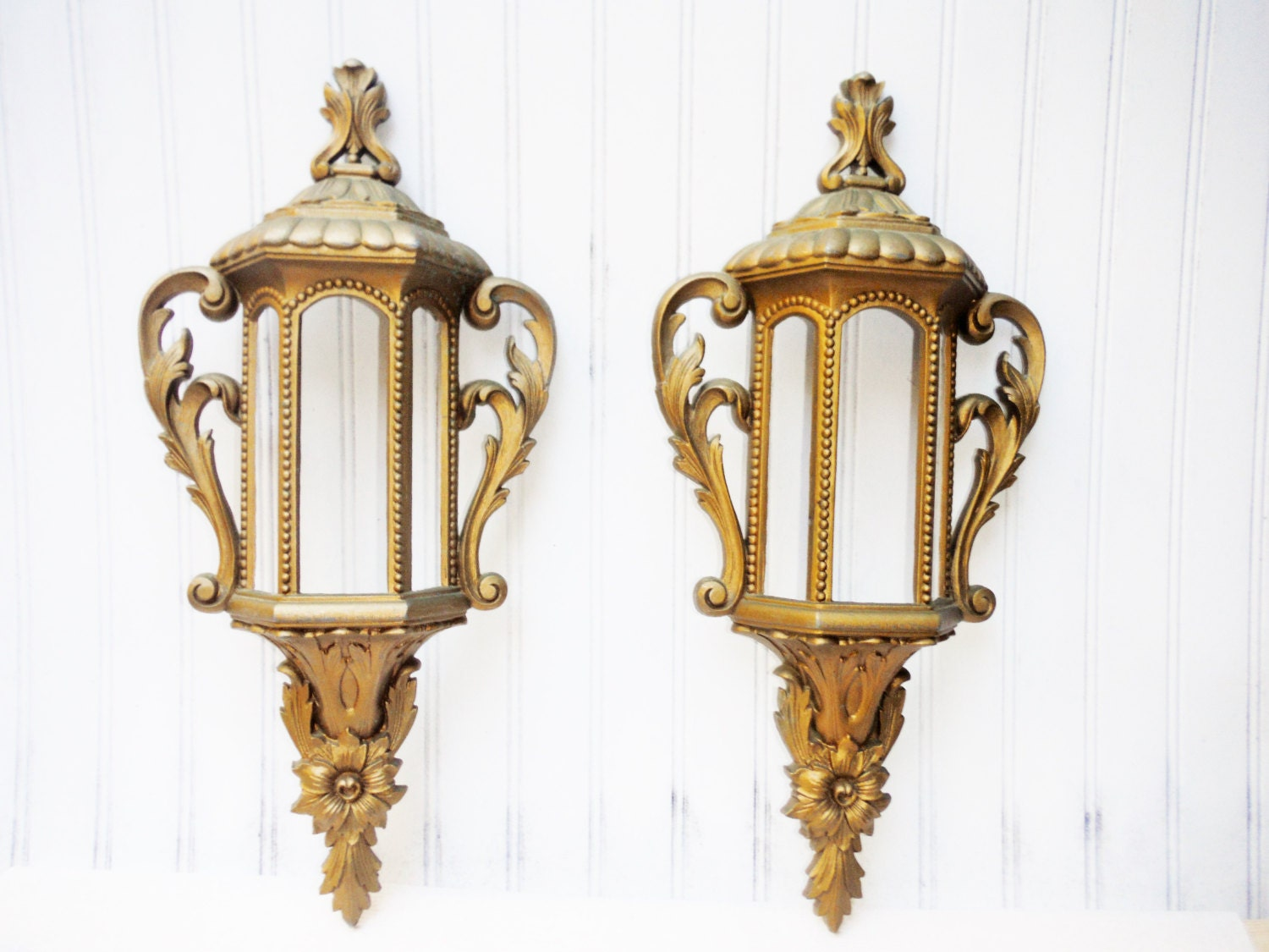 Wall Sconces Planters : Wall sconce planter lantern style french shabby vintage molded