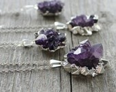 Amethyst Pendant Necklace: Purple Crystal Flower with Sterling Silver, Natural Geode Necklace, Simple Jewelry