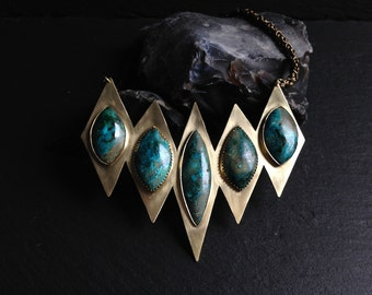 Malachite with Chrysocolla Breastplate - Brass
