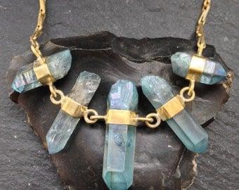 Quintet of Caged Aqua Aura Quartz Necklace - Brass